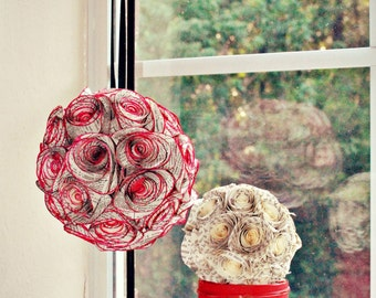 TWO Vintage Paper Rose Flower Ball Decor Floral Kissing Ball