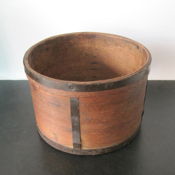 Antique wooden round box with metal strapping by for Circular wooden box