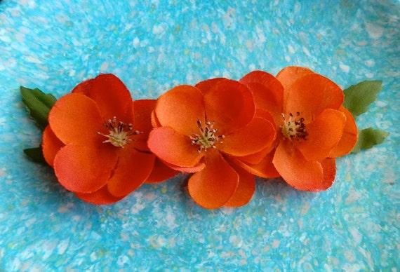 Flower Necklace - Orange Floral Statement Necklace