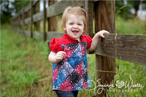 Summer blouse for Girls - button up blouse, short gathered sleeves, ruffled necline - 12 months to 8 years - PDF Pattern and Instructions