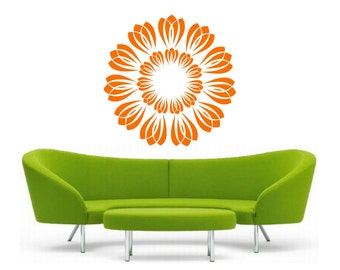 Flower Burst vinyl Wall DECAL Art, sticker art, room, home and business decor - yoga om floral bliss