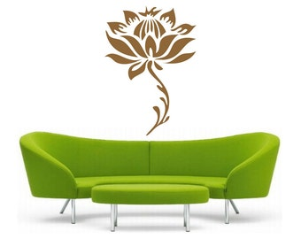 Lotus Flower with Stem, vinyl Wall DECAL Art, sticker art, room, home and business decor