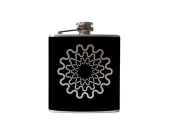 Flask- get in gear- alcohol, liquor, booze, wedding, bridal party, hip pocket- Personalized Custom - YOU pick COLOR