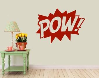 POW Comic vinyl wall decal- interior design, sticker art, room, home and business decor