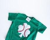 St. Patrick's Day Baseball Shamrock, Green T-Shirt kids and toddlers