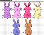 Easter Bunny Clip Art, Easter Clipart, Digital Clip Art, Instant Download, Commercial Use, Easter Bunnies, Rabbit Clip Art, Digital Graphics