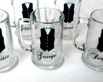 Groomsman beer mugs, Wedding party glasses with black vest. Best man gift. 1 mug Groomsmen gift ideas, Groomsman mugs, Best Man gift ideas