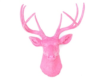 Faux Taxidermy - Hot pink Deer Head Decor - Hot Pink  - Deer Head Antlers Faux Taxidermy Wall Mount D1616