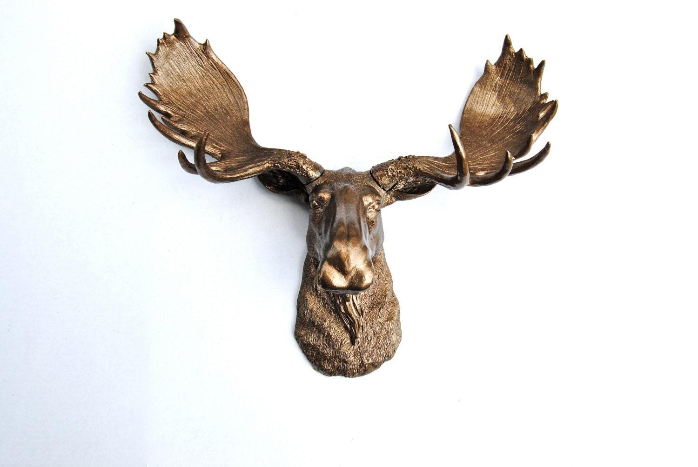 Metallic bronze moose head faux taxidermy moose by nearanddeer - Fake moose head ...