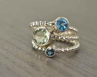 Prasiolite Swiss London Blue Topaz Stack Rings, silver gold stacking stackable jewelry - Carmine Rings