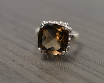 Darcy Ring, size 6, smoky quartz, cushion prong 6ct solitaire