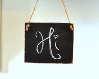 Chalkboard Mini Wooden Sign Hanging on Jute, Distressed