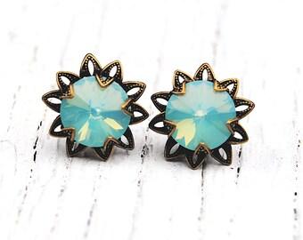 Blue Green Opal Floral Earrings Swarovski Crystal Pacific Opalr Earrings Vintage Saffron Sparklers Mashugana
