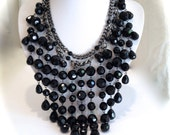 Jet Black and Hematite Glass Bead Multi Strand Chain Statement Chandelier Necklace Bib Necklace
