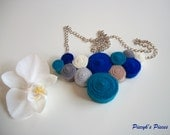 Blue Ocean - Blue Grey Brown Ecru Felt Bib Necklace OOAK