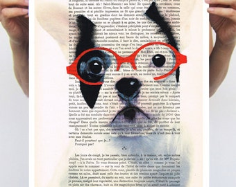 Portrait painting illustration glicee drawing illustration painting mixed media digital print POSTER 11x16: Bulldog with red spectacles