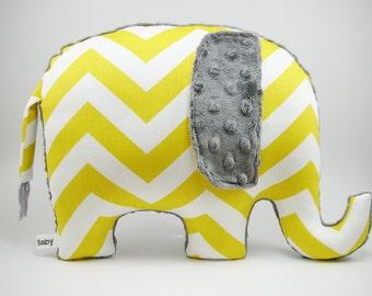 Elephant Pillow, chevron elephant, modern nursery decor, gray and yellow