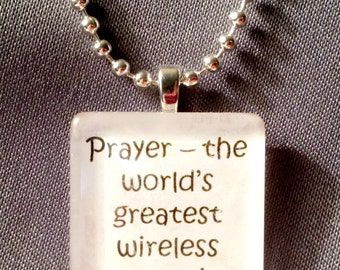 Prayer, the worlds greatest wireless connection glass tile pendant