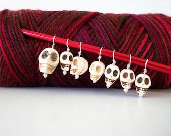Goth Skulls Knitting Stitch Markers Set of 7 Bone White Skulls Dia de los Muertos Howlite