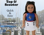 """Eden Ava Couture 1970s Reversible Halter Top and Scooter Pattern for 18"""" American Girl Doll"""