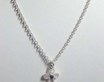 Swarovski Purple Crystal Cross Necklace, Jewelry Gift, Mom Sister Grandmother Jewelry, Pretty
