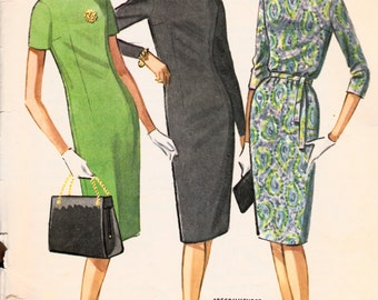 1960s Misses Mad Men Sack Dress McCall's 6631 Womens Vintage Sewing Pattern Bust 31.5""