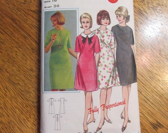 "1960s MOD A-Line Dress - Proportioned for Tall, Medium & Short Ladies - Plus Size 16 (Bust 38"") - VINTAGE Sewing Pattern Butterick 3435"