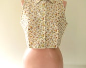 SALE - Floral Short Shirt (yellow brown picnic)