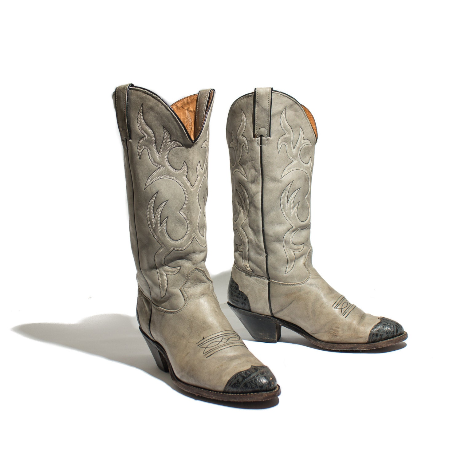 size 9 m s cowboy boots gray leather western by shopndg