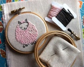embroidery kit // Paloma the pink sheep - hand embroidery kit