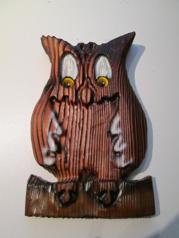 Wooden Owl Wall Decor : S vintage owl wall decor wood plaque mod pop mid
