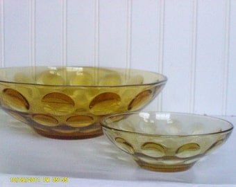 Vintage Hazel Atlas Chip and Dip Set / Amber Glass Bubble Bowls / Eldorado / Coin Dot / Thumb Print