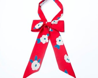 Vintage style cut, modern chic floral neckerchief in red, white and blue.