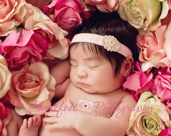 BEJEWELED Headband..Pink Baby Headband..Newborn Baby Girl Photo Prop..Baby Girl Rhinestone Headband..Infant Headband..Photoprop
