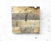 Rustic, natural reclaimed wood clock. No paint No stain. Farmhouse style...gift.  Custom pallet wood clock. Bo