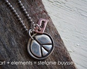 "Handmade ""PeaCe & LoVE"" Necklace - PMC - Copper - Sterling Silver - Charms"