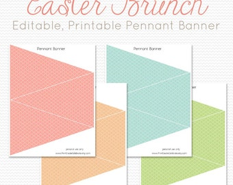 Easter Pennant Banner, Bunting, Party Decor, Easter Decoration, Easter Party Supplies, Pastel -- Printable, Instant Download