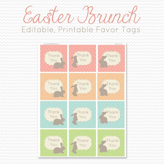 Easter Party Favor Tags Favor Bag Label Goodie Bag Tag