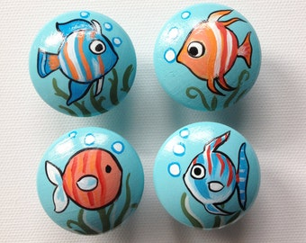 Fish Drawer Pulls / Dresser Knobs / Closet Handles / Hand Painted for Boys, Girls, Kids, Nursery Rooms