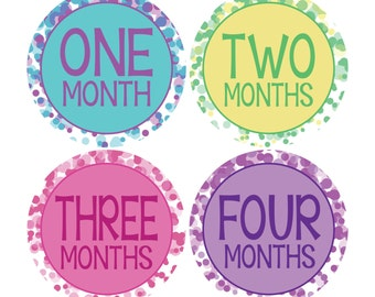Monthly Stickers - Dots - Infant Milestone Stickers -  Monthly Sticker Photo Props - Baby's 1st Year