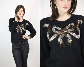 80s SEQUIN BOW Sweater Angora Silk Blend GLAM, small