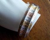 Vintage Sterling Silver Vermeil Wide Tri Color Bracelet Bangle