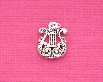 MUSIC LYRE HARP Deluxe Silver Plated Charm 17x13mm  chs1147