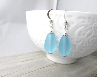 Teardrop earrings-seaglass earrings-bridesmaid earrings-light turquoise blue-wire wrapped