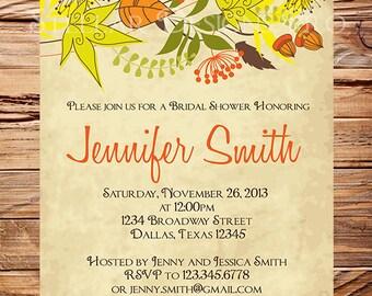 Fall Bridal shower Invitation,Fall LeavesWedding Shower, Fall Bridal Shower Invitation,Orange, Red, fall, 5186