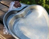 "Vintage Heart-Shaped 9"" Baking Pans, Set of Two, Ecko Ovenex, Chicago U.S.A."