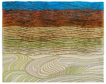 Rice Fields, fiber art collage.