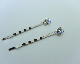 Silver Flower & Sapphire crystal Bobby Pins