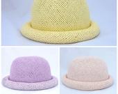 RESERVED for Pariya K. Straw Bowler Hat - pastel / pink, yellow, purple