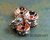 Rose Gold Rhinestone Beads, Grade AAA, Nickel Free, Rondelle, Crystal, 8x3.8mm -10